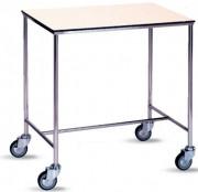 Table à instrument médical à roulette - En inox et plateau résine : L : 80 x l : 50 (cm)