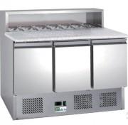 Table à pizza 3 portes en inox anticorrosion - Dimensions : 1365 x 700 x 1075 mm
