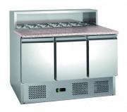 Table à pizza 3 portes réfrigération assistée -  3 portes GN 1/1 avec système de fermeture automatique