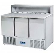 Table à pizza réfrigérée 3 portes - Capacité L / Bacs : 402 L - 8 x GN1/6 - Froid positif 0° +8°C Puissance : 230 W