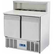 Table à pizza réfrigérée granit 2 portes - Capacité L / Bacs : 261 L - 5 x GN1/6- Froid positif 0°  8°C- Puissance : 142,2 W