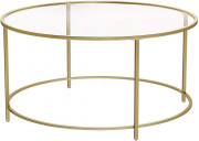 Table basse à plateau en verre - Dimensions : hauteur 40 cm x longueur 80 cm x largeur 80 cm
