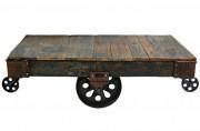 Table basse de style industriel - Dimensions: 140 x 80 x 46 cm