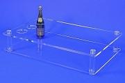 Table basse plexi - Avec 3 trous de 10 cm Ø pour bouteilles - Hauteur : 20 cm