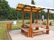 Table bois extérieur - Avec bancs et couverture bâche