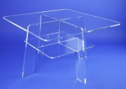 Table carrée plexiglas cristal - 2 Versions - 2 plateaux - Hauteur 45 et 25 cm
