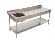 Table Chef inox centrale ou adossée - Dimensions (Lxpxh) : De 1400 x 700 x 850/900 à 1800 x 700 x 850/900 mm