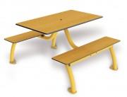 Table conviviale stratifiée - Encombrement (mm) : 1415 x 1180