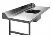 Table d'entrée avec cuve pour machine à laver 2100 x 750 mm - Dim: de 600 x 750 à 2100 x 750 mm
