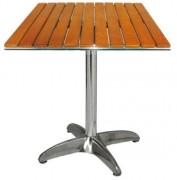Table de bar carrée pied en aluminium - Dimensions (Lxl) : 60 x 60 cm - Table carrée aluminium et teck