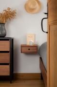 Table de chevet en métal et bois - Caisson et tiroir en contreplaqué de hêtre