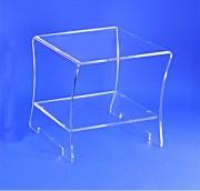 Table de chevet plexiglas - Dimensions : plateau : 39 x 43 cm  -  Hauteur 43 cm
