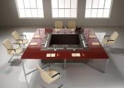 Table de conférence en verre trempé satiné - Dimensions (L x P x H) : 160 x 320 x 75 cm