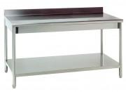 Table de cuisine adossée en inox - Dimensions mm : De 1000 x 700 x 850/900 à 1400 x 700 x 850/900