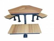 Table de jardin avec 3 banquettes - En acier galvanisé+verni et bois de pin