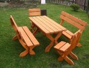 Table de jardin avec banc - Rectangulaire - 2 bancs et 2 chaises