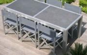 Table de jardin en profilés aluminium - En profilés 90x90 faces lisses