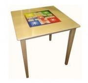 Table de jeux parchis en bois - Dimensions (L × l × H) cm : 90 x 90 x 75
