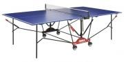 Table de ping pong à châssis central roulant - Plateau 22 mm sandwich Alu amélioré / Bleu