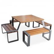 Table de pique-nique bois exotique - Dimensions (L x l x H) mm : 1983.73 x 1981.23 x 688