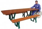 Table de pique nique bois pour PMR - Pieds profilé acier