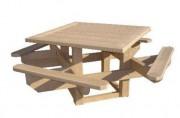 Table de pique nique carrée - Dimension hors tout (cm) : 200 x 200