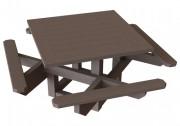 Table de pique nique carrée avec 4 bancs - Dimensions (Lx H) cm : 200 x 200