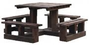 Table de pique-nique éco - Longeur : 177 cm - Largeur : 177 cm - Hauteur : 80 cm