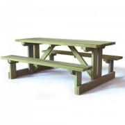 Table de pique nique en bois à poser - Dimensions (L x l) : 2000 x 1730 mm - Adaptable aux PMR