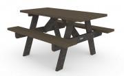 Table de pique-nique en plastique recyclé - Dimensions  (L x l x H): 1500 x 1360 x 845 mm