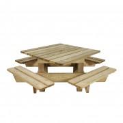 Table de pique-nique en plein air en pin - Dimensions (L x l x H) cm : 200 x 200 x 75 - Pin traité classe 4