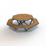 Table de pique nique Octogonale - Longueur totale : 1902 mm - Hauteur hors sol : 730 mm