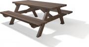 Table de pique nique plastique recyclé 2m - 6 lames - L x l x H : 200 x 77 x 76 cm - 6 lames