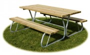 Table de plein air sans dossier - Dimensions (L x P x H) cm : 190 x 183 x 77