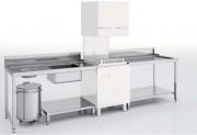 Table de prélavage avec bac - Dimensions : Jusqu'à 1600 x  750 mm