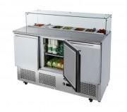 Table de préparation culinaire avec toit en verre - Capacité : 380 litres, température : +2°C/+8°C