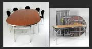 Table de réunion en aluminium - Hauteur : 73,50 cm - Plateau en bois