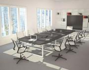 Table de réunion plateau mélaminé - Mélaminé, Piétement métallique en tube 60 x30