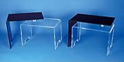 Table de salon design plexi - Format plié: 65/40 cm - Format déplié: 90/40 cm