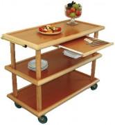 Table de service en bois  - En bois, 3 plateaux - Poignées laiton