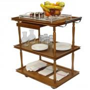 Table de service roulante en bois 3 Plateaux - Dimensions (L x l x h) cm : 93 x 55 x 94