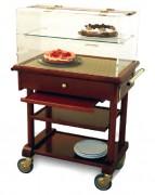 Table de service roulante réfrigérée - 3 plateaux - tirette, poignées en laiton