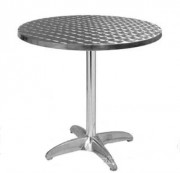 Table de terrasse avec plateau en inox et pied en aluminum - Dimensions (diam) : 60 cm