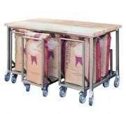 Table de travail en hêtre et inox - Matière :  inox AISI 304L - Dim ( L x l x H ) : 1200 x 900 x 900 mm- Avec chariot