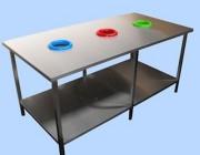 Table de tri sélectif en inox - Modèle adaptable à vos besoins  -  Dimensions : 2000 x 1000 mm H = 900 mm