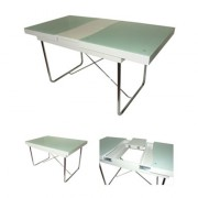 Table design en verre sablé sur support en bois
