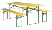 Table et bancs pliants et empilables de collectivité - Plateau en pin massif - Pieds en acier finition peinture époxy verte