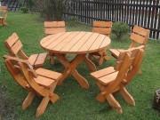 Table et chaises de jardin - En pin - Diamètre : 120 cm - 6 chaises