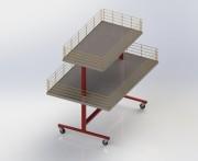 Table fouille sur roulette 2 niveaux - Bac de fouille - Dimensions : 1000 x 700 x 1200 mm