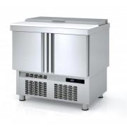 Table froide pour saladettes - Fabrication espagnole - Certification ISO 9001 et 14001 - Modèle : 2 - 3 portes